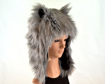 Gray Wolf Hat Faux Fur Animal Hat For Women and Men