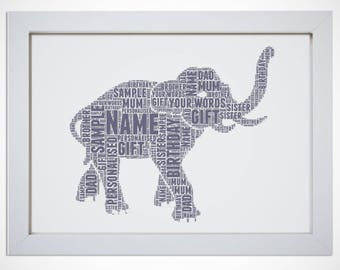 Personalised Lucky Elephant Animal Word Art Cloud Gift Picture Print