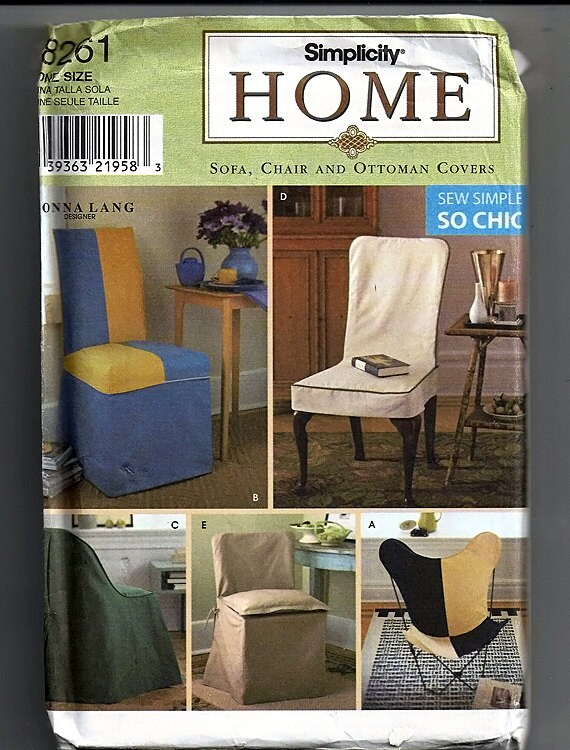 Chair Covers / Original Simplicity Home uncut Sewing Pattern 8261 ...