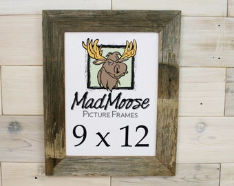 """9x12 Barn Wood [Thin x 2""""]  Picture Frame... (aka Rustic Weathered Wood Picture Frame, Mad Moose Reclaimed Wood Frame, Gray Wood Frame)"""