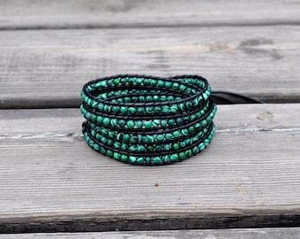 Malachite Bracelet Malachite Green Wrap Bracelet Beaded Bracelet Leather Wrap Bracelet Wedding Jewelry Wedding Bracelet