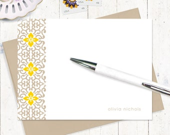personalized stationery set - ORNAMENTAL FLOWER - set of 12 flat note cards - women's stationary - custom stationery - fancy cards