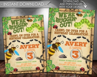 Bug Birthday Invitation, Insect Birthday Invitation, Bug Party Invitation, Insect Party Invitation, Instant Download, Editable PDF #411