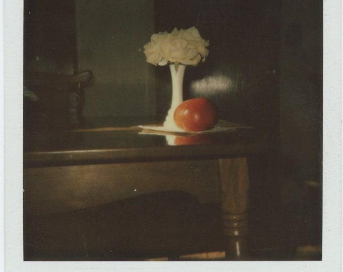 Vintage SX-70 Polaroid Snapshot Photo: Still Life with Yellow Roses & Tomato (84662)