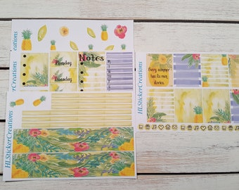 Erin Condren June Weekly Kit, June, summer, tropical, pineapple, June
