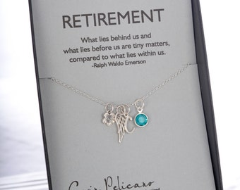 Retirement Gifts for Women Retirement Party Personalized Gift Charm Necklace Retirement Jewelry Teacher Retirement Inspirational womens gift