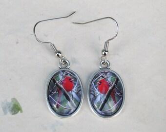 Cardinal Earrings - Oval Dangle Earrings, 18x13mm Song Bird Jewelry - Male Red Cardinal