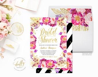 Bridal Shower Invitation, Bridal Shower Invite, Pink Black Bridal Shower Invite, Watercolor Floral Bridal Shower Invite Bridal Shower Invite