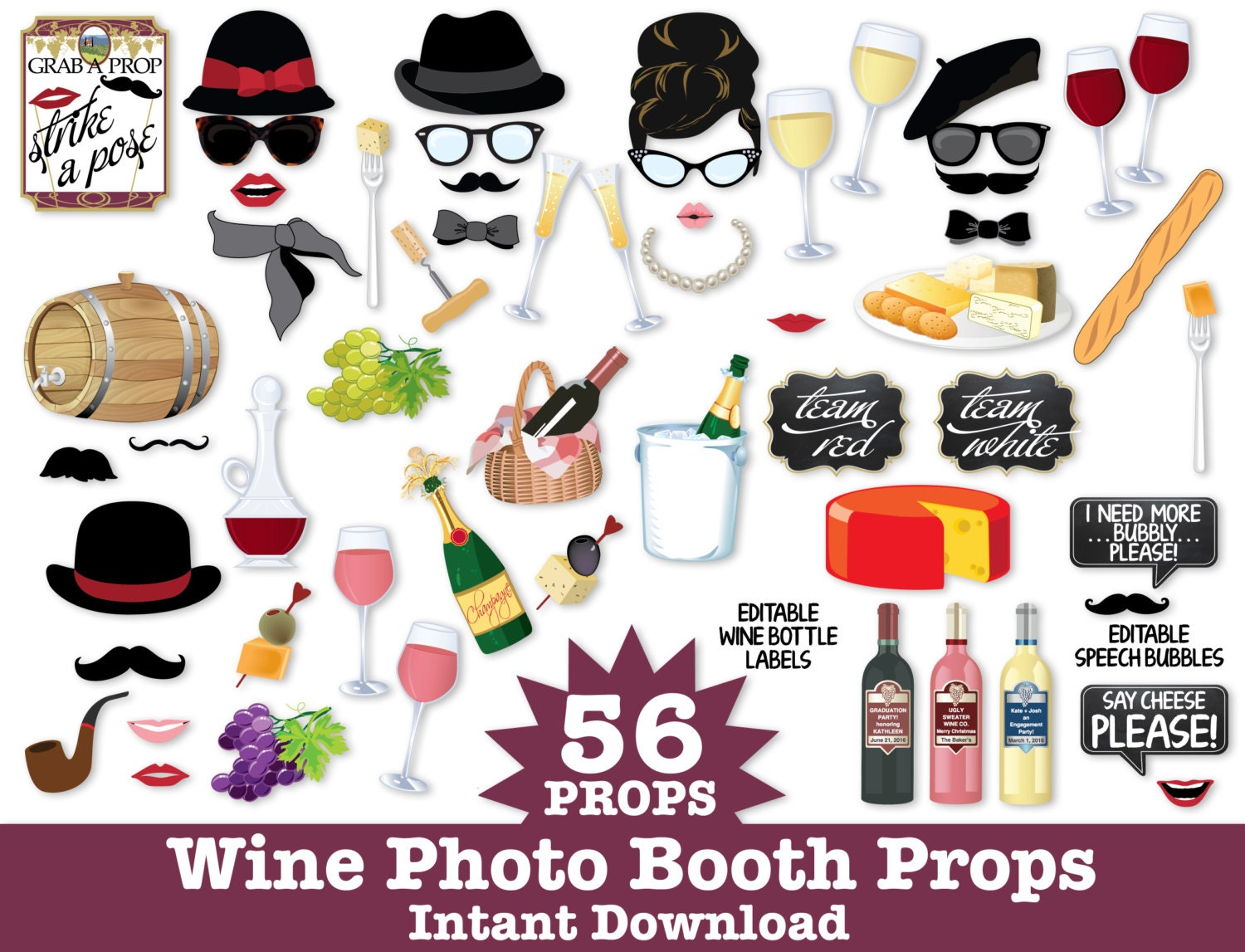 Wine Photo Booth Props Wine Tasting Props New Year\'s