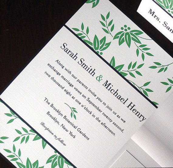 Greenery wedding invitation zen leaves wedding invitations stopboris Image collections