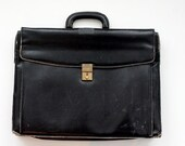 Vintage Black Leather Bally Briefcase - Made in Italy - Suede Interior with Dividers, Pockets, Fathers Day Gifts, Luxury Travel