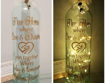 New Home Quote LED Light Bottles. New Home Gift