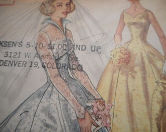 Vintage 1950s Simplicity 2066 Brides', Bridesmaids' and Evening Dress and Jacket Sewing Pattern Size 12 Bust 32