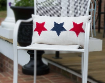 Farmhouse Pillow, 4th of July, Outdoor Pillow, Patriotic Pillow,  Embroidered, Throw Pillow, Upcycled, Denim, Burlap,  Pillow Cover