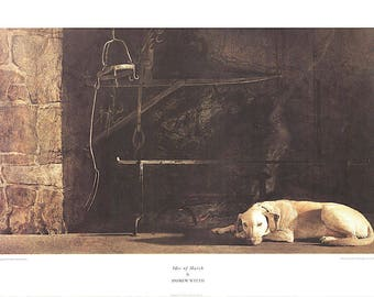 ANDREW WYETH - 'Ides of March' - rare original collotype print - c1985 - large (New York Graphic Society) e