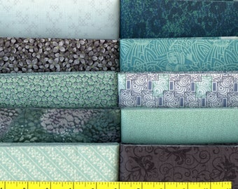"Aqua Mist  Jelly 40 - 2.5"" Strips Quilting Fabric"