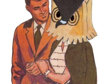 Mixed Media, Original Collage, Kitsch Owl Art, Crazy Love, Weird Couple Artwork, Zany Art, Odd Image