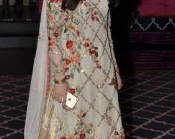 Sania Maskatiya inspired Floral Embroidery Embellished Chiffon Shirt, 3-Pc, Pakistani Formal Dress