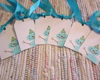 Snowman Tags  Blue  Set of 6