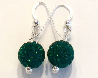 Emerald green Pave' crystal earrings, crystal ball earrings, green crystal earrings, sterling silver crystal earrings, rhinestone crystals
