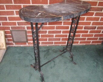Vintage 1920s French Art Deco Wrought Iron Table with Black Marble Kidney Shaped Top