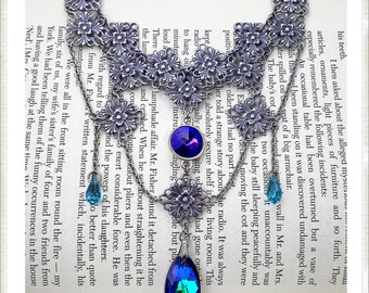 Gothic Choker Necklace / Swarovski Crystal Statement Necklace / Heliotrope / Turquoise / Victorian Necklace / Gothic Jewelry