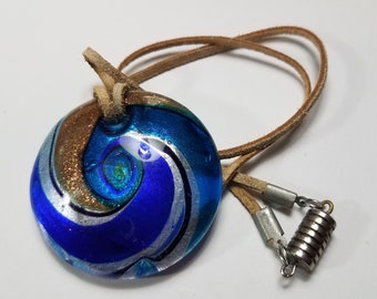 Blue, Gold, Silver Swirl Glass Necklace