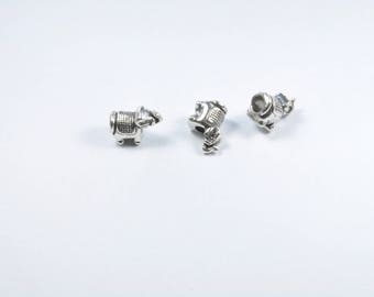 PE143 - Set of 3 silver metal elephant beads