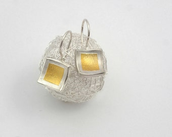 Mixed metal earrings with 22K gold fused on sterling silver, Gold and silver earrings, Square earrings, Textured earrings, Valentine's gift