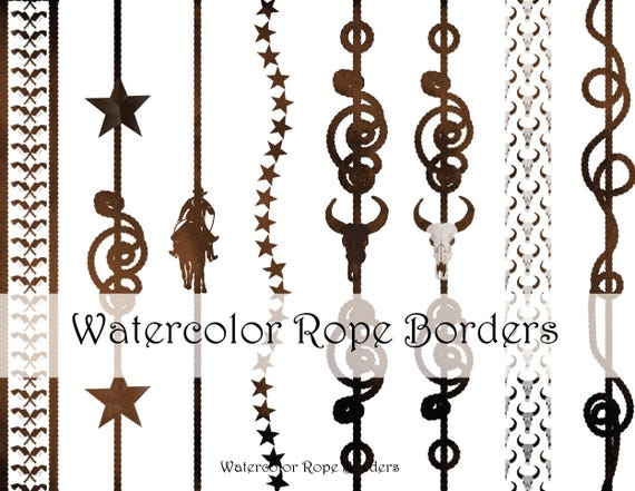 Watercolor Western Cowboy Rope Border Clipart Graphics High Resolution Graphic Digital Clip Art Scrapbooking