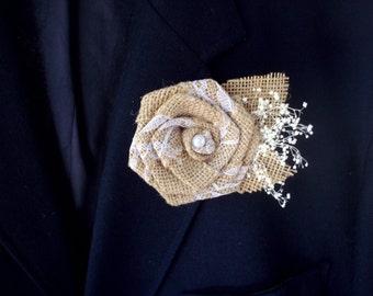 Rustic burlap rose boutonniere   burlap rose   rustic wedding   beach wedding   rustic button hole   rose boutonniere