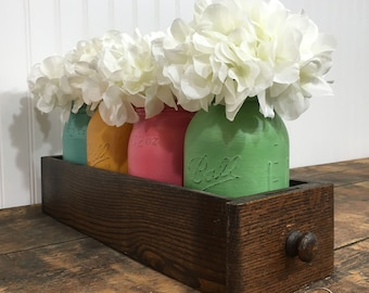 Mason Jar Decor, Centerpiece Decor, Spring Decor, Easter Decor, Tablescape, Farmhouse Decor, Sewing Drawer, Vintage Decor
