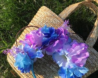 Blue & Purple Hydrangea Floral Vine Mouse Ears // Disney Inspired Minnie Mouse Headband // Flower and Garden Festival // Wire Mickey Ears