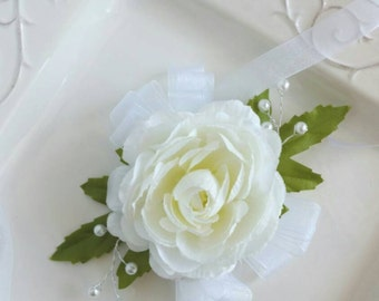 Ivory Wedding Corsage Wrist Corsage Artificial Flowers ON SALE!