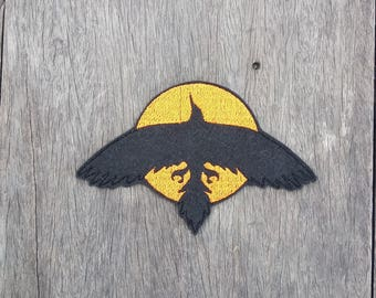 Black Raven on Red Sun Sets - Embroidery Iron on Patch