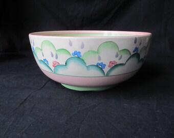 Rare Clarice Cliff,  Cloud Flower pattern holborn fruit bowl c1936 original art deco, vgc