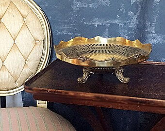 Large Brass Bowl 12 Inches Footed with Cut-Outs