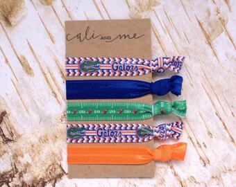 Florida Gators Hair Ties. Multi colored Hair ties. Elastic Bracelets