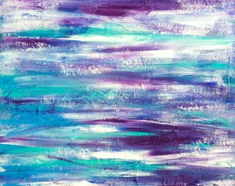 Cool Tones Textured Abstract Square Acrylic Painting by Breanna Deis