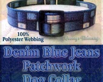 Denim Blue Jeans Patchwork Polyester Webbing Designer Novelty Dog Collar