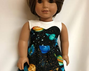 Galaxy print dress outer space astronomy planets 18 inch doll clothes