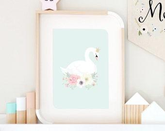 Mint Swan Princess Print