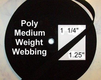"20 Yards - 1 1/4"" - Polypropylene Webbing, Medium Weight, 1.25, BLACK or BROWN - .051"" thick"