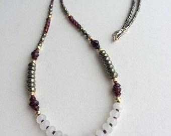 Garnet and Gemstone Layering Necklace, Sundance Style, Bohemian Necklace, January Birthstone