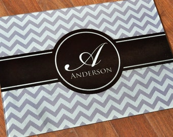 Personalized Chevron Glass Cutting Board