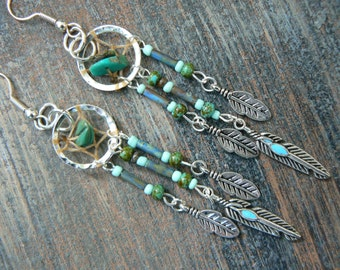 Boho dreamcatcher earrings TURQUOISE tribal inspired tribal fusion boho belly dancer and hipster style