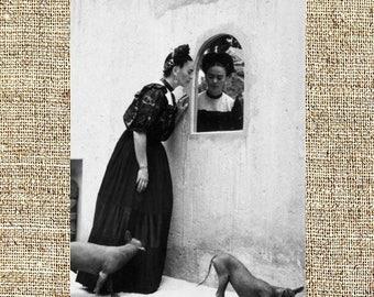 Frida Kahlo photograph, Frida black and white photo print, Kahlo vintage photograph, framed photograph