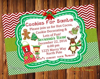 Christmas Party Invite, Cookie Decorating Party, Party Invites, Cookies for santa, *Digital File*