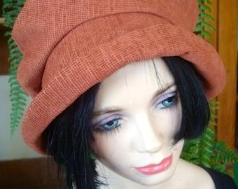 womens hats soft hat stylish hat with brim Terrecotta brown autumn
