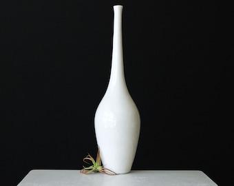 White Porcelain Stem Vase Large - Tall White Ceramic Bottle